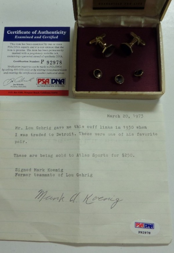 "This vintage pair of 1930 cufflinks belonged to, and were the favorite pair from HOF Great Lou Gehrig. So says the hand signed PSA/DNA note from teamate Mark Koenig who added that ""Lou gave them to him when he got traded to Detroit"". Cool chance, obviously rare and one of a kind, and personal effects from the ""Iron Horse"" are simply never seen at auction.  Bid now!"