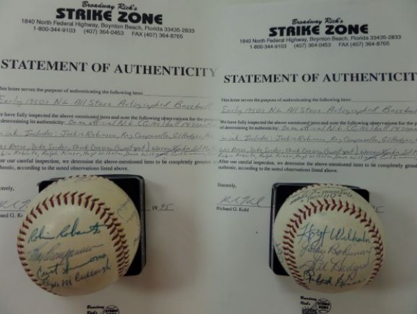 This Warren Giles Official NL ball features a Broadway Rick's LOA and comes blue ink signed by 14, including many deceased Brooklyn Dodgers HOF'ers. I see sharp signatures from Roy Campanella, Jackie Robinson, Pee Wee Reese, Robin Roberts, Gil Hodges, Kiner, Wilhelm, Spahn, Mathews, Curt Simmons and more. Grade overall is an honest 7, and value is 2-3 thousand with these stellar HOF names appearing.
