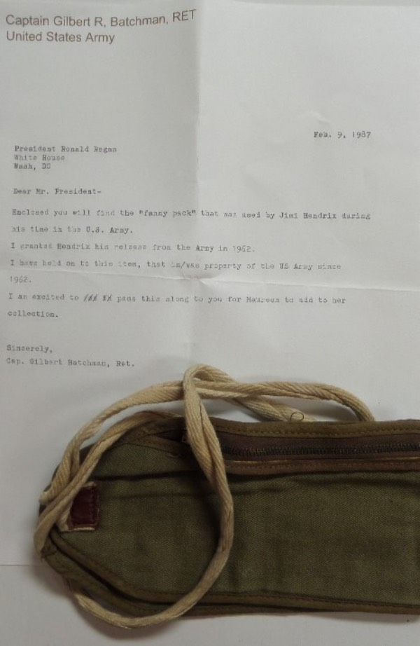 "This super rare one of a kind rock 'n roll item once belonged to the HOF rock star while he was stationed in the Army. He was ""let go"" in 1962, and this green, ARMY issued  fanny pack was held by Captain Gilbert Batchman until he sent it as a gift to President Reagan in 1987. Terrific chance, super high value, and that letter from Batchman to Reagan accompanies for provenance."