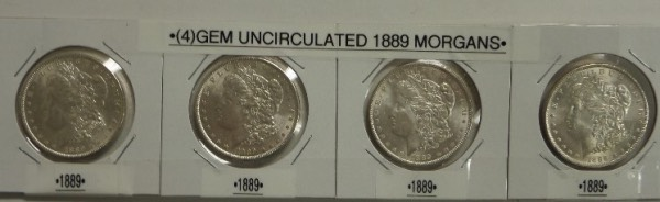 Wow!  All I can say is WOW!!!  This one of a kind opportunity is FOUR--count them, FOUR uncirculated 1889 Morgan Silver Dollars in fantastic condition.  Great luster, full breast feathers, minimal bag marks, and each individually packaged, with all four connected.  Hard to find this nice, and retail on these babies is sky high!