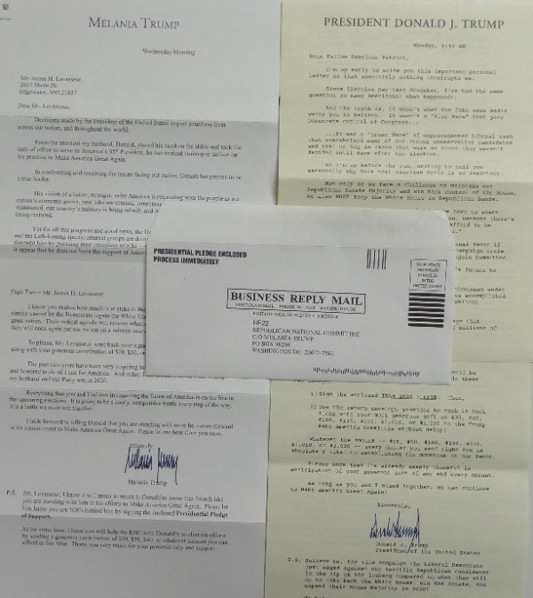 "This MUST HAVE political lot is TWO different type-written letters, one with a Melania Trump letterhead, made out directly to our consignor, and the other on President Donald Trump letterhead, addressed to ""Fellow American Patriot.""  These are donation request letters, and each is hand-signed on the second page in blue, one by Melania, and the other by 45 himself.  Ideal for framing and display, and retail here is easily low thousands, as Trump's has been signed during his Presidency!"