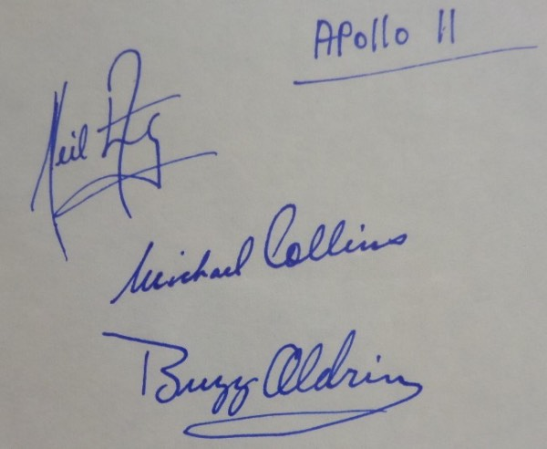 This vintage cut of white paper measures right around 4x6, a super size for matting and framing, and is in NM condition.  It is blue ink-signed by all three moon landing Apollo 11 Astronauts, including Michael Collins, Buzz Aldrin, and Neil Armstrong, with signatures grading strong 9's each, and retail on this piece is easily mid/high hundreds!