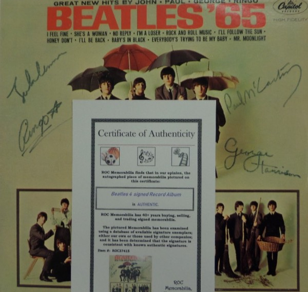 "This original 1965 Capitol Records ""Beatles '65"" LP album is in EX condition, and comes front cover-signed in black felt tip marker by all four Beatles.  Included are John Lennon, Paul McCartney, George Harrison and Ringo Starr, with signatures ranging from 5.5's-6.5's, and the album comes with a photo LOA from ROC Memorabilia for provenance.  Valued well into the thousands, with a low, LOW minimum bid to start out with!"