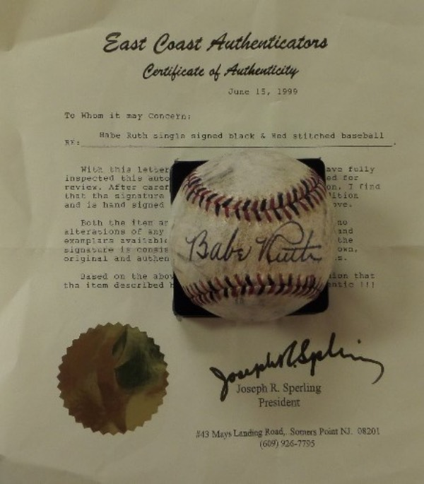 This very old red and black-laced baseball is unlabeled, and comes to us in VG+ overall condition.  It features the black ink signature of Babe Ruth right across the sweet spot, grading a solid 7 overall, and comes with a full LOA from East Coast Authenticators for certainty.  A real gem of a display item, ideal for any baseball collection, and retail is FIVE FIGURES!