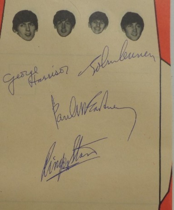 This full promo page measures 5.5x9.25 in size, with black and white images of all four Beatle heads at the top.  It is also hand-signed in blue ink by all four, with each signature grading an 8 or better, and is ideal for matting and framing, or for framing by itself.  Valued into the low thousands!