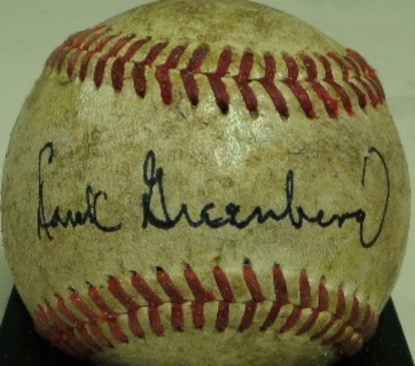 This well-handled vintage baseball is in VG shape and has been signed over the sweet spot wonderfully by this long-deceased HOFer.  Solid signature and ball with a huge retail price on it!