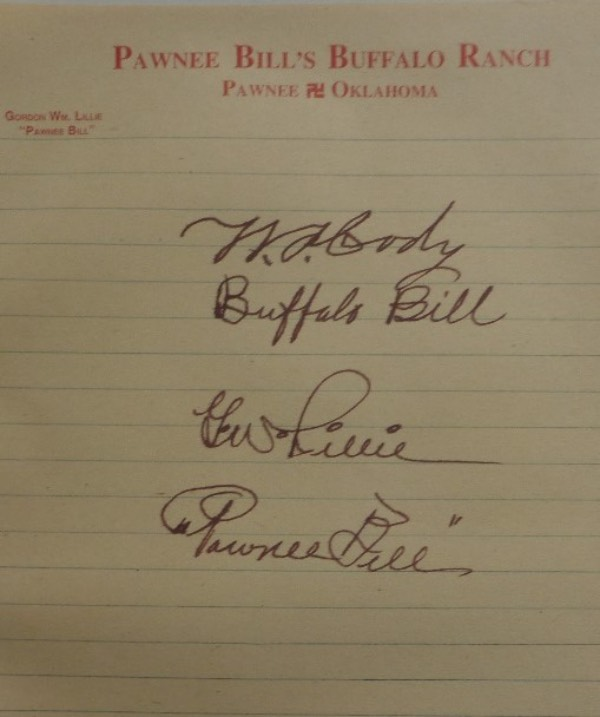 "This roughly 7.5x9.5 sheet of lined paper reads Pawnee Bill's Buffalo Ranch in red letterhead at the top.  it is hand-signed not only by Pawnee Bill, but also by William ""Buffalo Bill"" Cody, and will frame and display delightfully in any Old West or historical US collection.  Valued into the low thousands!"