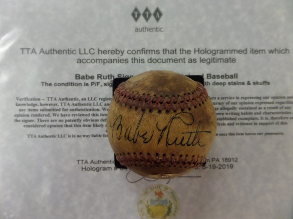 This vintage baseball is unlabeled and in VG shape overall! It comes sweet spot signed SUPERBLY in black ink by this legendary HOFer. The signatures is stunning and can be read from across the room and the rare gem comes hologrammed and certified by former VP of Fleer Ted Taylor from TTA for authenticity purposes.  Wow