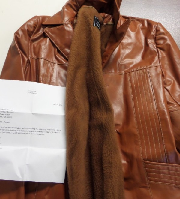 "This super rare, super cool piece of Hardrock memorabilia is his actual coat, seen in many photographs of the late HOF rock star in magazines of the 70's and 80's, and with a 2002 letter from Manager Jim Hutton. It was sent to Robert Turner of Turner records for his rock n' roll museum and comes hand signed, and on Suttons personal stationary. Great piece, super high value, and obviously a ""Queen"" fans must have!"