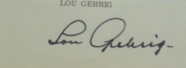 "This superior signature is from the original ""Iron Horse"" and shows off well from 20 feet away. It is a classy bold 10 all over, signed at the bottom of one of his personal letters, and measures a large 2x8 in size. It is THE perfect Gehrig signature to invest in, and always a solid HOF investment is the long gone Yankee hero."