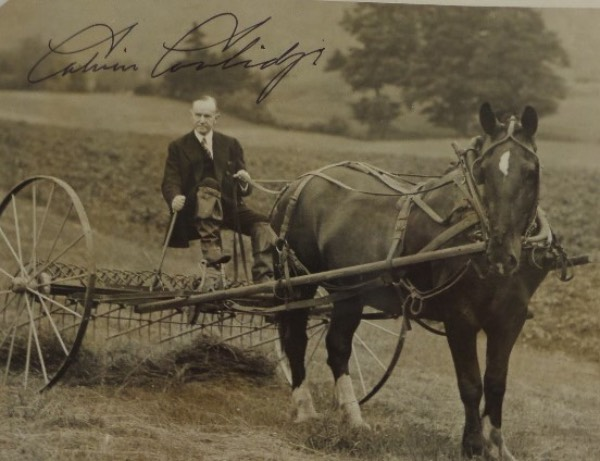 This super cool, super rare one of a kind shows the long gone US President at his farm, and riding a horse with cart. It is Acme News stamped on back, 8x10 in size, and has some dings evident. It is a nice piece overall though, and comes hand signed in bold black ink, and on a terrific viewing spot by Coolidge.