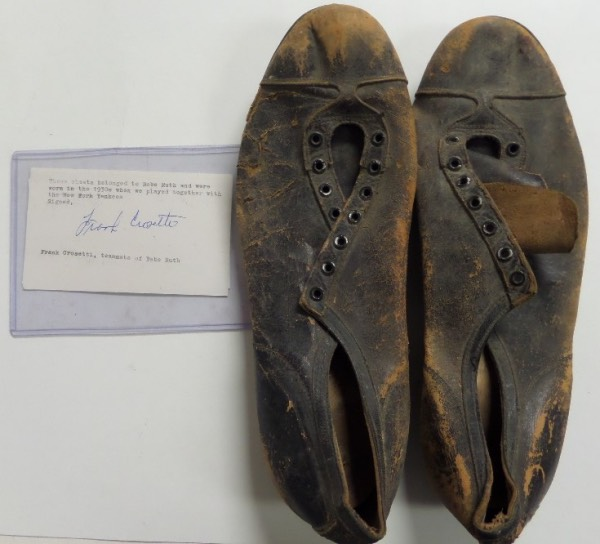 This super high end lot is a real game used pair of the Babe's spikes, and comes with TWO pieces of authenticity! They both show lots of great Big league wear, they are black leather, and both a Frank Crosetti hand signed letter, and Jimmy Spence's JSA COA accompany for iron clad certainty. Value might be $50,000 and display in Cooperstown is coming.
