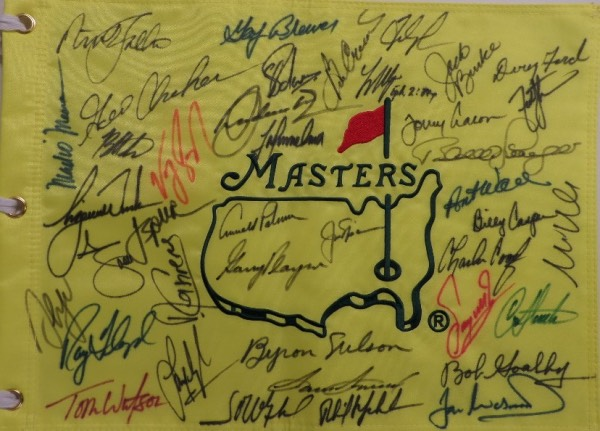 This awesome, multi-thousand dollar piece is a mint, full-sized and custom embroidered pin flag from Augusta, and comes sharpie signed by about 30 previous winners. I see some major names here, Player, Palmer, Nicklaus, TIGER, Mickleson, Floyd, Byron Nelson, Casper, Faldo and many, many more. Grade is a clean IN PERSON 10, and show off is easy from 30 feet away! We have now sold 19 of these, and never had one returned!!!