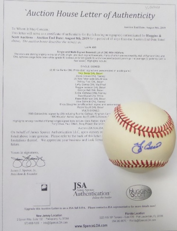 This Official American League Baseball from Rawlings is in EX+ condition overall, and comes sweet spot-signed in blue ink by Yankees all time great and HOF catcher, Yogi Berra.  Signature here grades a 7 overall, and the ball comes with a copy of the original Huggins & Scott Auction JSA group LOA for authenticity purposes.  Valued well into the hundreds!