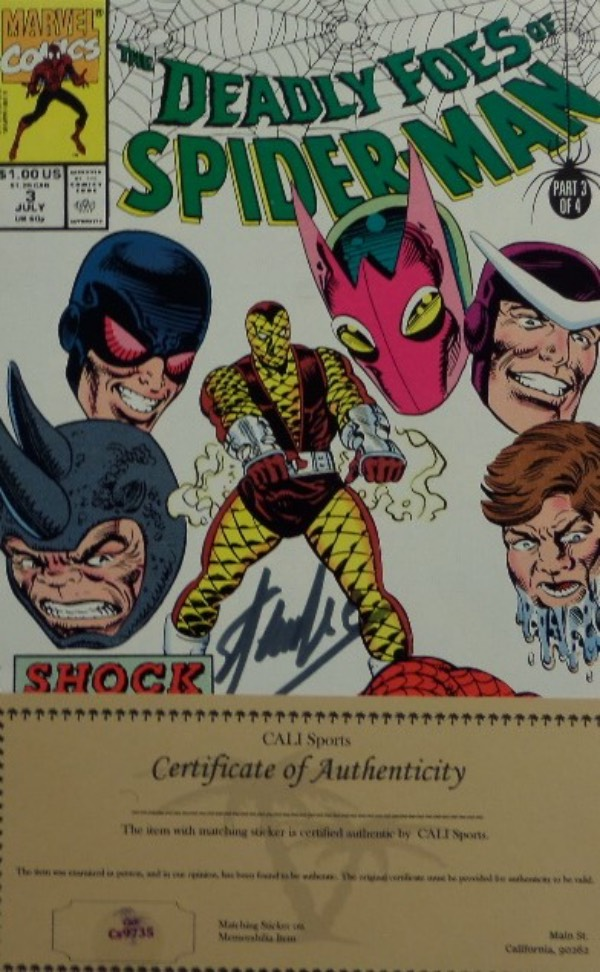 This original July 1991 The Deadly Foes of Spider Man comic book is still in NM condition overall, and comes hand-signed in silver by Marvel man and creator, Stan Lee.  Signature is a bit light, grading about an 8, and comes certified by CALI Sports.  Everything has shot up since Lee's death, so get in on this one on the ground floor!