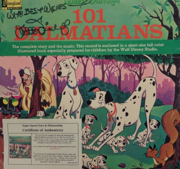 "This original ""Walt Disney's 101 Dalmatians"" LP album is in EX condition overall, and comes hand-signed in black felt tip marker by the famed entertainment icon himself.  Signature grades an overall 7, with With Best Wishes included, and the album comes with a photo COA from Super Sports Stars & Memorabilia for authenticity purposes.  Valued well into the thousands!"