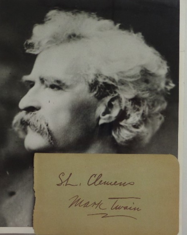 This vintage autograph album page measures about 3x5 with rounded edges on the right hand side, and is in EX condition.  It is hand signed in black ink by 19th century author extraordinaire, Mark Twain, also reading his real name of Samuel Clemens, and grades a still strong overall 6.  Ideal for use as a bookplate with any of his numerous classics, but also includes a vintage 7x9 B&W display photo for possible matting and framing, and retail here is low thousands, easily!