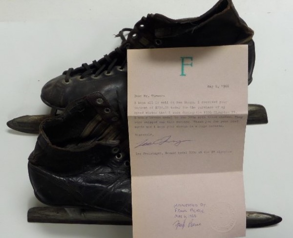 This historic lot is a well used pair of vintage ice skates, and from Leo Freisinger, winner of the bronze medal at the 1936 Olympics. A signed, dated 1966 letter accompanies from Freisinger and his witness, and they were sold to a San Diego area sports museum for $250.00. Cool piece, great LOA included, and value is ??? Don't even bother trying to find another Olympic artifact-they are impossible to find anywhere!