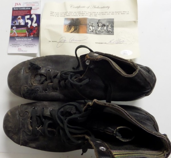 This amazing NFL HOF worthy item is a pair of the HOF QB's well used, vintage black football cleats, and come with Jimmy Spence's JSA COA and lifetime hologram. They were given to teamate  Joe Arenas back in 1957, then sold by Arenas in 1997. That LOA accompanies, hand signed by Arenas, and dates included as well. Cool item, and a chance for you to buy them, and lend them to Canton.