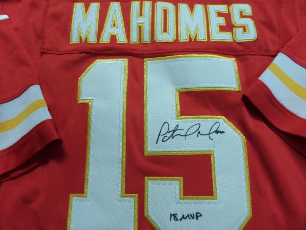This authentic style red jersey is trimmed in white and gold and in mint shape. It comes back # signed by this recently crowned MVP and rising megastar in red sharpie with his #15 and his recent MVP win included. Guaranteed authentic and retails now in the high hundreds and rising rapidly.