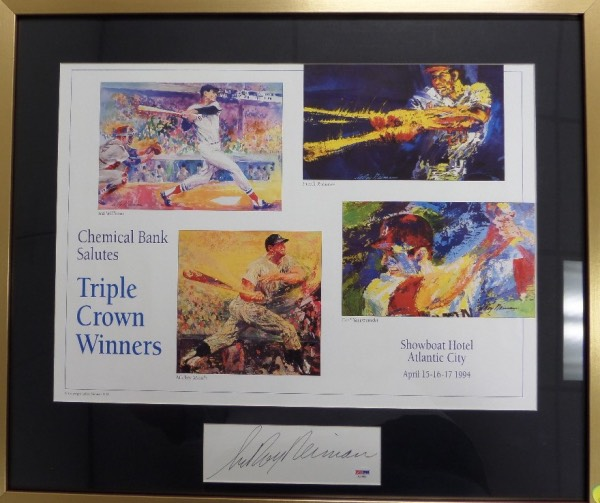 This 2x3 foot custom gem is matted and framed in gold metal, and holds a full color Neiman print, which shows the 1994 Triple Crown Winners from the Atlantic City card show. It is a superb piece, loaded with Neiman colors and style, and holds a PSA/DNA certified and hologrammed signature from the deceased artist across the bottom. Wow!!!