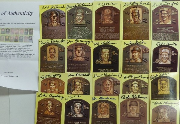 This fantastic HOF grouping is TWENTY different gold plaque postcards, each hand-signed by the diamond dandy pictured.  Included are Edd Roush, Frank Robinson, Phil Niekro, Whitey Ford, Sandy Koufax, Ozzie Smith, Duke Snider, Billy Williams, Joe DiMaggio, Robin Roberts, Bob Feller, Hal Newhouser, Hank Greenberg, Stan Musial, Red Ruffing, Rube Marquard, Bob Gibson, Lou Boudreau, Al Barlick and Luke Appling, and a full photo LOA is included from the Joe DiMMaggio Estate for authenticity purposes.  With 13 of the 20 now deceased, retail on this bunch is easily low thousands, so get in on our paltry minimum bid!