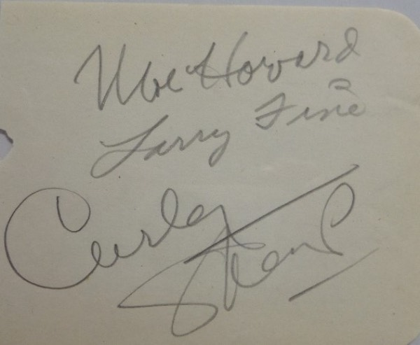 "This vintage, off white autograph collector's book page measures about 4.5x5.5, with rounded edges on the right hand side, and neatly cut on the left.  It is pencil-signed by the three most well known ""Stooges"", including Moe Howard, Larry Fine, and Curly, the signatures grading strong, bold legible 7-8's each and will mat and frame exquisitely with the photo of your choice.  Super RARE and valued well into the hundreds!"
