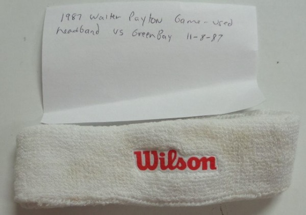 "This Chicago fans must have item is a super rare NFL piece, game worn by ""Sweetness"" 11-08-1987 vs. the Packers, and valued at ""priceless"". It is a white head band, has ""Wilson"" screened on in red color, and shows a touch of sweat from the late great HOF running back. We can keep the minimum to just that,  and let you tell us what it's worth."