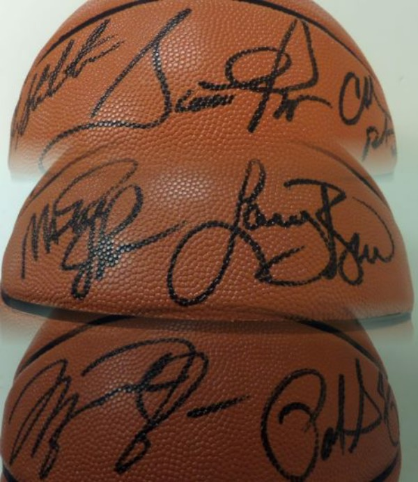 This mint, leather and Official NBA game ball comes from Spalding and is black marker signed by every gold medal winner from the 1992 Olympics in Barcelona. It is a clean bold 10 all over, features top 50 signatures from HOF'ers like Jordan, Bird, Magic, Barkley, Drexler, Ewing, Pippen and more, and value at one time as $3500.00. Whats it worth now??