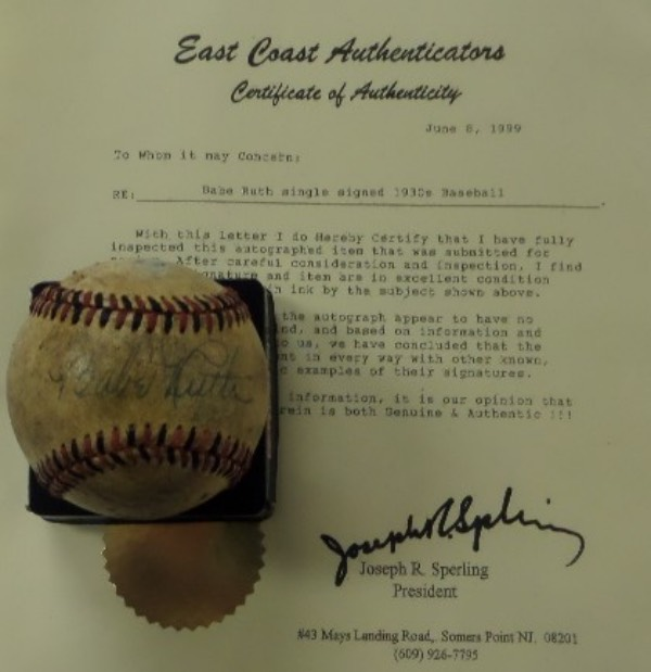 This red and black-laced vintage baseball is in G overall condition with considerable age evident.  It features the sweet spot signature of Babe Ruth in blue fountain pen ink, the autograph fading evenly with the ball and grading about a 4.5-5 overall.  Comes with a full LOA from East Coast Authenticators for your assurance, and book value here is $10,000!