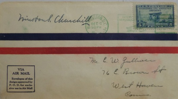 This very old air mail cachet is still in EX condition, and has a 5cent stamp affixed in the upper right corner.  It is fountain pen ink-signed on the upper LEFT hand corner by WWII British Prime Minister, Winston Churchill, and grades an overall 6.5.  Valued well into the hundreds from this long-deceased World icon!