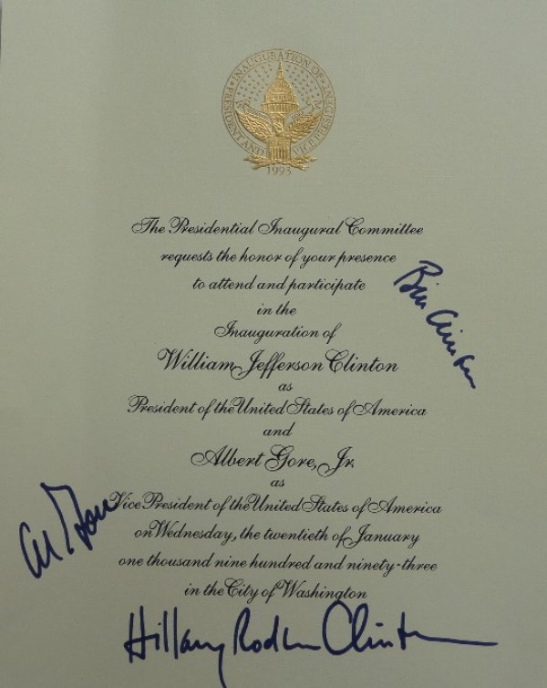 This 8x10 full 1993 invitation to the White House Inauguration of Bill Clinton is in NM/MT condition, and comes hand-signed in blue sharpie by the former President himself, along with his VP, Al Gore, and then First Lady, Hillary Rodham Clinton.  With Bill a former US President, and Hillary's chances at the White House better than average, this piece is valued into the very high hundreds!
