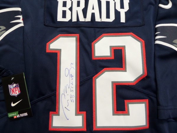 This GORGEOUS authentic Pat's jersey comes signed on the back numbers by the best ever in blue with his #12 and SB 51 MVP included by Tom Terrific!  Guaranteed authentic and retails into the low thousands and rising once he is a first ballot HOFer.