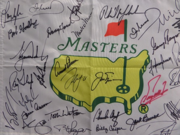 This 13x19 white Masters logo pin flag is perfect for display, and comes hand-signed all over in black sharpie--with one exception in red, Fuzzy Zoeller--by more than 30 winners of the famed Augusta National tournament!  Included are Palmer, Nicklaus, Mickelson, O'Meara, Player, Casper, Langer, Watson, Singh, Floyd, Crenshaw, Woods, Spieth and many more--please see the picture, and retail here is low thousands, to be sure!