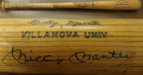 "This used old label H&B is a Mantle signature model style and has ""Villanova Univ"" engraved on the barrel as well. It was a vintage team bat, from the Larry Shane Estate directly, and comes IN PERSON, barrel signed by Mickey. Shane became a successful card show promoter here in Phila. and this Mantle promises to pass JSA, PSA or any other test!"