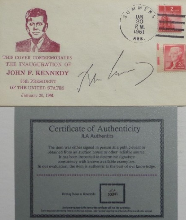 This January 20, 1961 stamped cachet is in commemoration of the Inauguration of President, John F. Kennedy, and comes hand-signed in black ink by the American political icon himself.  Signature grades a legible 8, was obviously signed during his Presidency, and comes with a JLA Authentics COA for authenticity.  With his tragic death now more than 55 years ago, retail is well into the thousands!