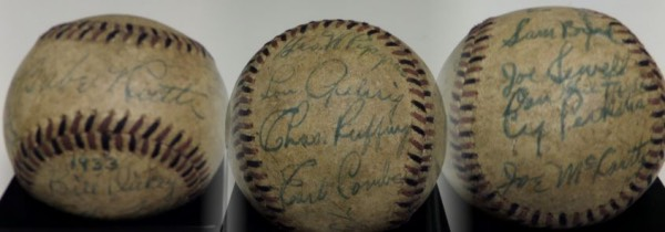 This 80+ year-old baseball is laced in red and black, and in G overall condition.  It comes blue ink-signed all over by 20 members of the star-studded '33 Yanks, including Babe Ruth (ss), Tony Lazzeri (reverse ss), Bill Dickey, Earle Combs, Lou Gehrig, Red Ruffing, Herb Pennock, Joe McCarthy, Joe Sewell, and more.  Signatures are worn evenly with the ball, most grading 4's-5's, and, oh, by the way, the aforementioned 9 players/manager are ALL in the Hall of Fame!