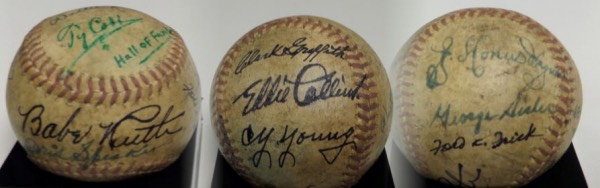 "This vintage red-laced baseball is in G+ shape, and comes hand-signed in different colors by League Commissioners Ford Frick and William Harridge, HOF Manager, Clark Griffith, and the 11 Inductees who famously attended the opening ceremonies for the National Baseball Hall Of Fame and Museum in 1939.  Included are Babe Ruth, Honus Wagner, Cy Young, Walter Johnson, Connie Mack, Larry Lajoie, Ty Cobb, Eddie Collins, George Sisler, Grover Alexander and Tris Speaker.  Signatures mostly grade 5's-6's and show a bit of weathering, and the ball looks absolutely fabulous with the different colored inks--please see our attached ""triple"" photo.  Fantastic collector's item, valued well into the five figure range!"