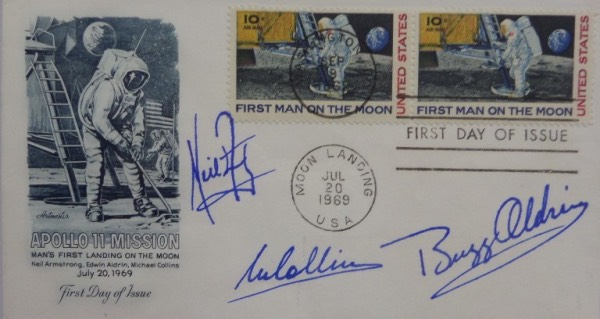 This July 20, 1969 and September 9, 1969 double-stamped Man's First Landing On The Moon First Day Of Issue cachet is hand-signed in blue by all three moon landing Apollo 11 astronauts.  Included are Buzz Aldrin, Michael Collins, and Neil Armstrong, and the piece is truly a stunner.  Easily valued into the mid/high hundreds!