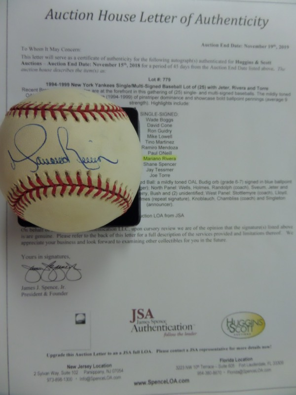 This Official American League Baseball from Rawlings is in EX overall shape, and comes sweet spot-signed in blue ink by the greatest closer of them all, Yankees HOF'er, Mariano Rivera.  Signature grades about an 8.5, and the ball comes with a copy of the original Huggins & Scott Auction JSA group LOA for authenticity purposes.  Valued well into the hundreds, and a real looker!
