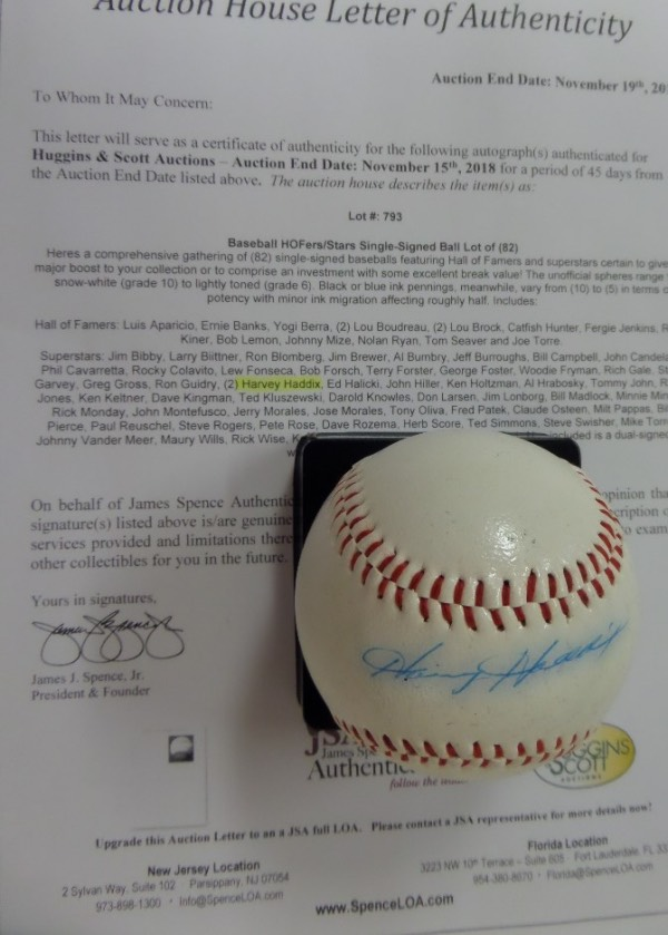 This SA Official League Ball is in EX/EX+ condition, and comes hand-signed across the sweet spot in blue ink by the man who, in 1959, pitched the most perfect inning in one game EVER, Pirates former star hurler, Harvey Haddix.  Signature fades and bleeds slightly here, grading about a 6, but still shows off well, and the ball includes a copy of the original Huggins & Scott Auction JSA group LOA for authenticity purposes.  A rarity, valued well into the hundreds!