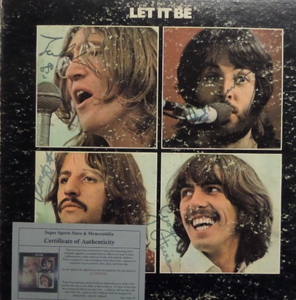 "This original 1970 Beatles ""Let It Be"" LP album is in VG condition, with color images of The Fab Four on the front.  It is hand-signed in black by all four legendary band members, including Paul McCartney, Ringo Starr, George Harrison and John Lennon, with signatures ranging from 6's-7's, and with half of the band no longer with us, retail on any album signed by all four is in the five figure range!  Super Sports Stars & Memorabilia LOA included!"