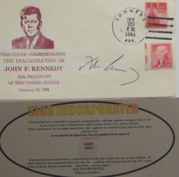 This January 20, 1961 stamped cachet is in commemoration of the Inauguration of President, John F. Kennedy, and comes hand-signed in black ink by the American political icon himself.  Signature grades a legible 8, was obviously signed during his Presidency, and comes with a Sigs Incorporated COA for authenticity.  With his tragic death now more than 55 years ago, retail is well into the thousands!