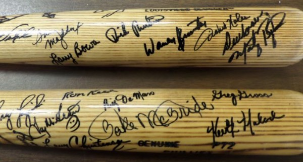 This IN PERSON obtained bat is promised by us to pass any authenticity and is boldly black sharpie signed by 17 world champs. I see Bake McBride, Luzinski, Dallas Green, Garry Maddox, Bowa, Tug McGraw, Ron Reed, Brustar, Noles, Unser, Moreland and many, many more. The bat is mint, a team labeled P72, and grade all over is a 9 or better!
