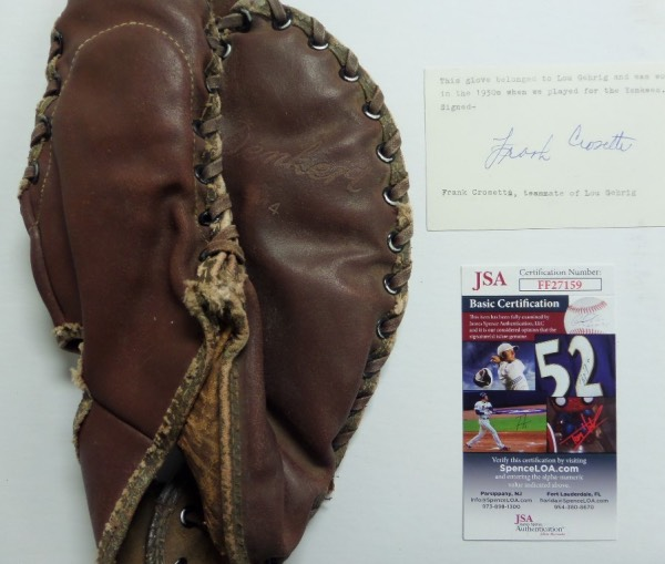 This remarkable find was a real glove, actually used by someone on the Yanks in the 1930's, then handed off to teammate Frank Crosetti, as Crosetti's note indicates that accompanies this gem. The note is hand signed in blue ink by the famous player, authenticated by Jimmy Spence and his JSA company, and value is ridiculously high. We do not know who used it in a game, in practice, barnstorming etc. but we do know that someone on the Yanks used it as it is a first basemans glove for a RHT! A well used old leather glove, with all lacing intact, and game usage obvious!