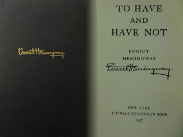 "This top literary item is a vintage hardback, black ink signed boldly on the title page, and titled ""To Have and Have Not"". It is in fine or better condition, shows it has been read a few times, and that signature is magic, and an honest 10. It is a $3500.00 piece, sold here at the ""Corner"" with NO reserve, and makes for a super solid ""Great American"" investment choice."