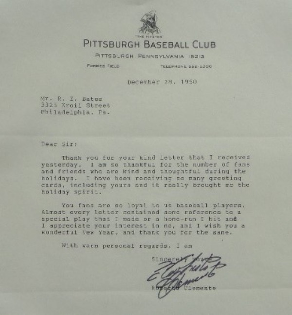 This all original, 1960 dated letter is typed on Pirates team stationary, thanks a fan, and comes black flair marker signed by the late hero and HOF Great.  It is a classic, clean 9 all over, is a Clemente one of a kind item, and belongs in every serious Pirates/Clemente and/or MLB HOF collection. Value is 3 grand all the live long day, but we sell here with NO reserve. What's it worth???