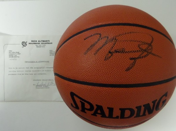 "This real leather NBA game ball is official from Spalding, and comes black marker signed by the greatest player EVER!!! Both ball and autograph are as good as it gets from his ""Airness"" and a Rich Altman LOA accompanies from 1993 for iron clad certainty. Solid sports and HOF buy and hold investment, and value is $2200.00."