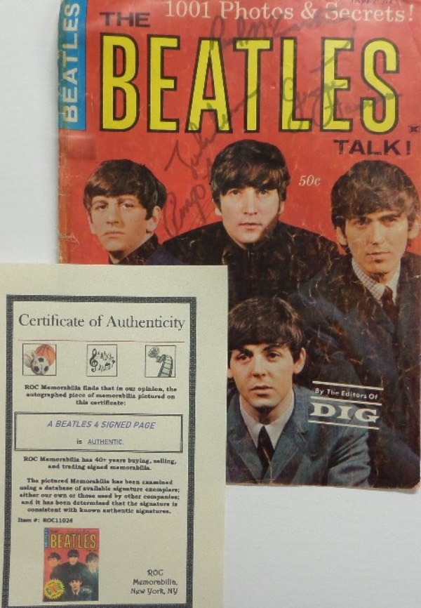 "This 1964 ""The Beatles: 1001 Photos & Secrets!"" magazine cover page is in EX overall condition, with a color image of the band.  It is hand-signed in black felt tip marker by all four band members, including John Lennon, Paul McCartney, George Harrison, and Ringo Starr, and comes with a photo COA from ROC Memorabilia for authenticity.  Valued into the low thousands!"
