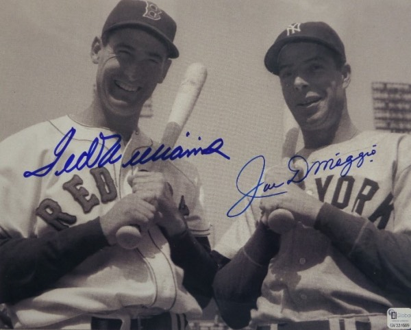 "This black and white 8x10 photo is a mid 1940's image of two of the game's very best, Ted Williams and Joe DiMaggio.  It is blue sharpie signed by both 20th Century Baseball Icons, and is affixed with a sticker from ""GAI"" (GV331669) for authenticity purposes.  Valued into the high hundreds!"